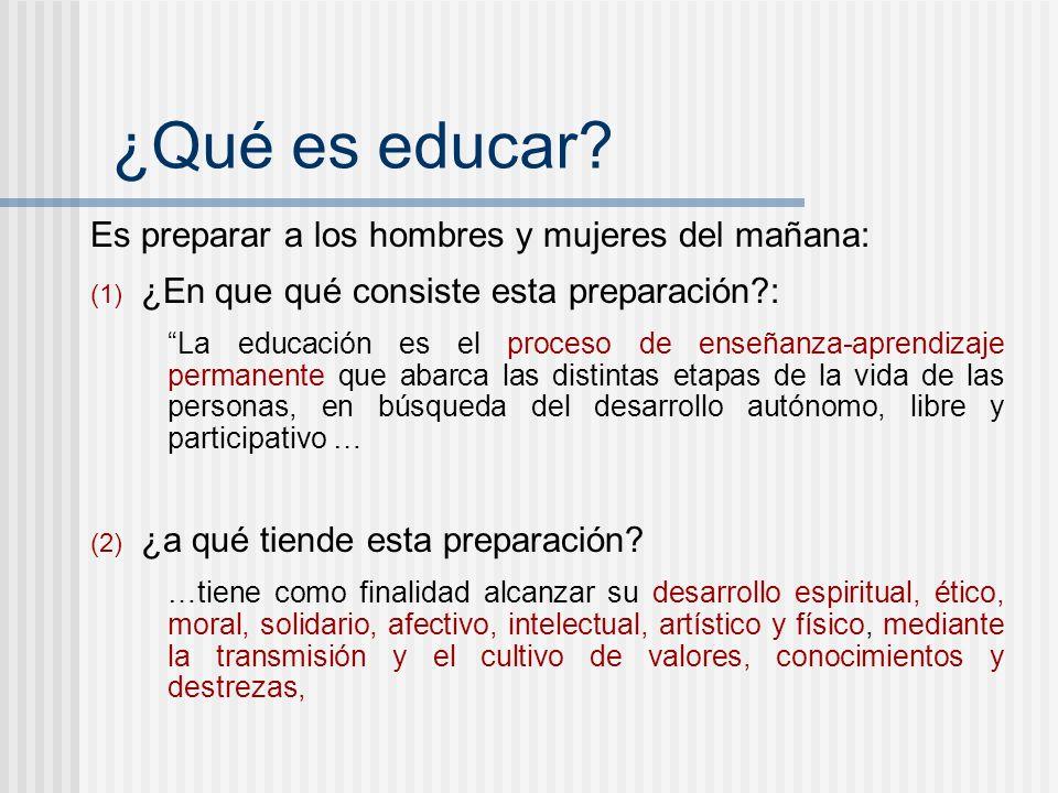 ¿Qué es educar Es preparar a los hombres y mujeres del mañana: