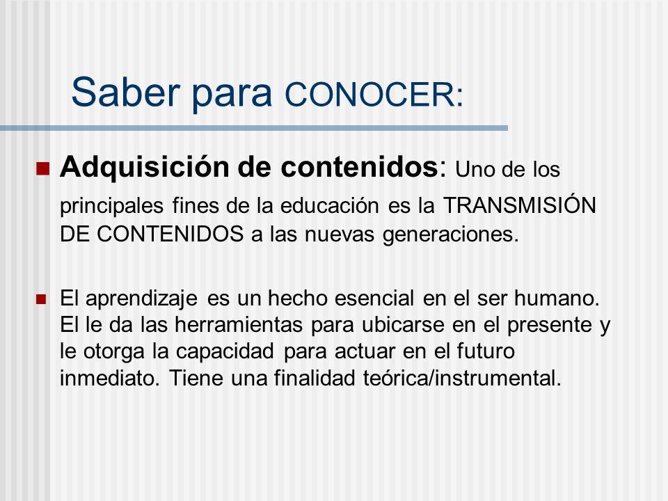 Saber para CONOCER: