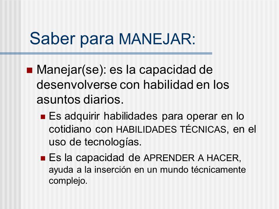 Saber para MANEJAR: Manejar(se): es la capacidad de desenvolverse con habilidad en los asuntos diarios.