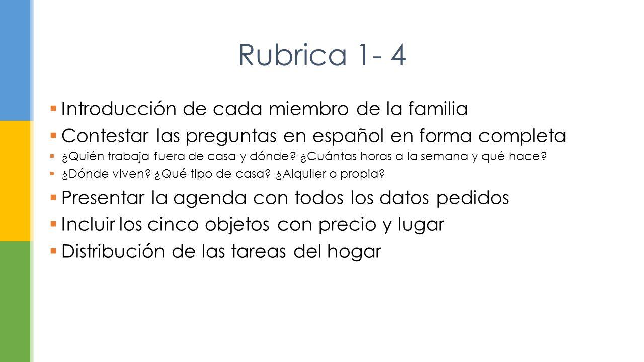 Rubrica 1- 4 Introducción de cada miembro de la familia