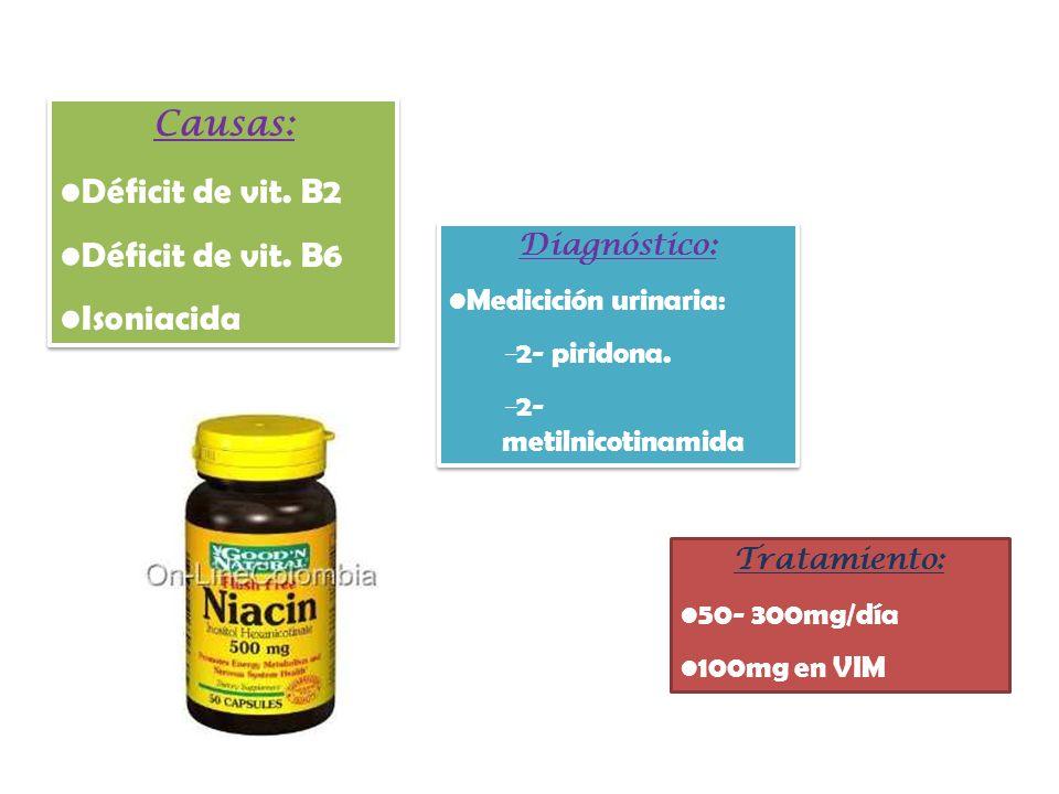 Causas: Déficit de vit. B2 Déficit de vit. B6 Isoniacida Diagnóstico: