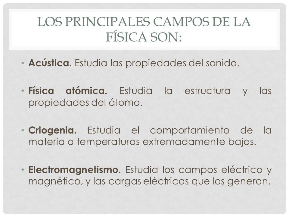 Los principales campos de la física son: