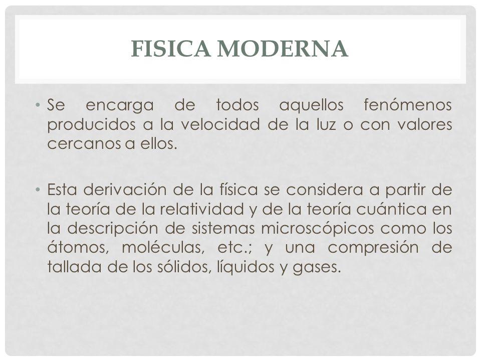 FISICA MODERNA Se encarga de todos aquellos fenómenos producidos a la velocidad de la luz o con valores cercanos a ellos.