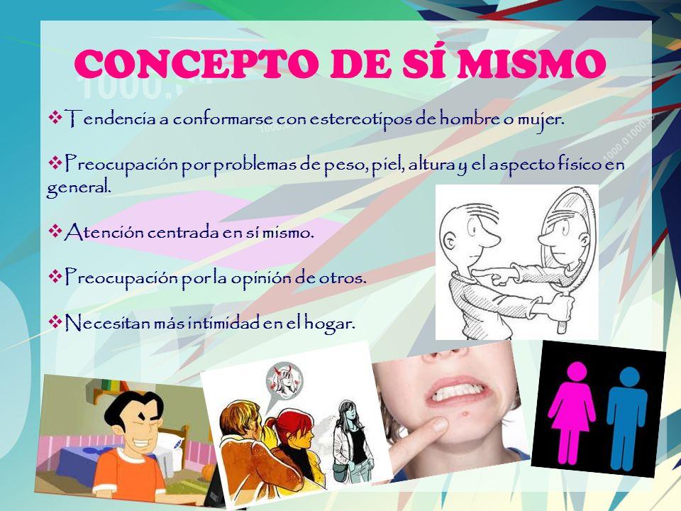 CONCEPTO DE SÍ MISMO Tendencia a conformarse con estereotipos de hombre o mujer.