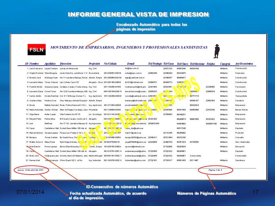INFORME GENERAL VISTA DE IMPRESION