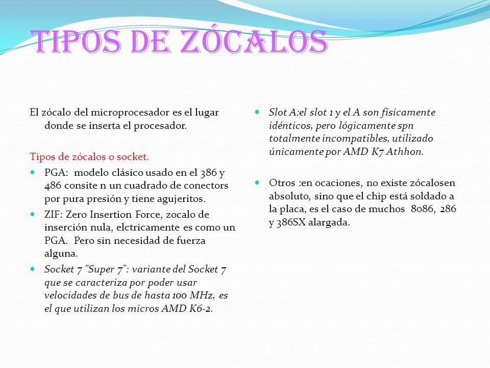 TIPOS DE ZÓCALOS El zócalo del microprocesador es el lugar donde se inserta el procesador. Tipos de zócalos o socket.
