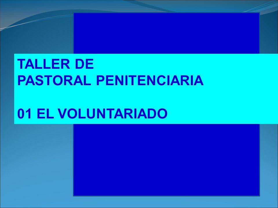TALLER DE PASTORAL PENITENCIARIA 01 EL VOLUNTARIADO