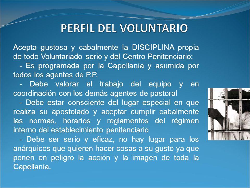 PERFIL DEL VOLUNTARIO Acepta gustosa y cabalmente la DISCIPLINA propia de todo Voluntariado serio y del Centro Penitenciario: