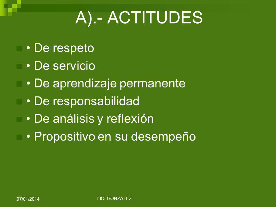 A).- ACTITUDES • De respeto • De servicio • De aprendizaje permanente