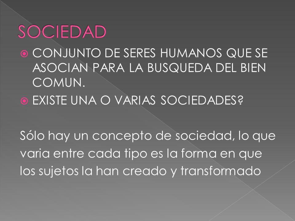 SOCIEDAD CONJUNTO DE SERES HUMANOS QUE SE ASOCIAN PARA LA BUSQUEDA DEL BIEN COMUN. EXISTE UNA O VARIAS SOCIEDADES