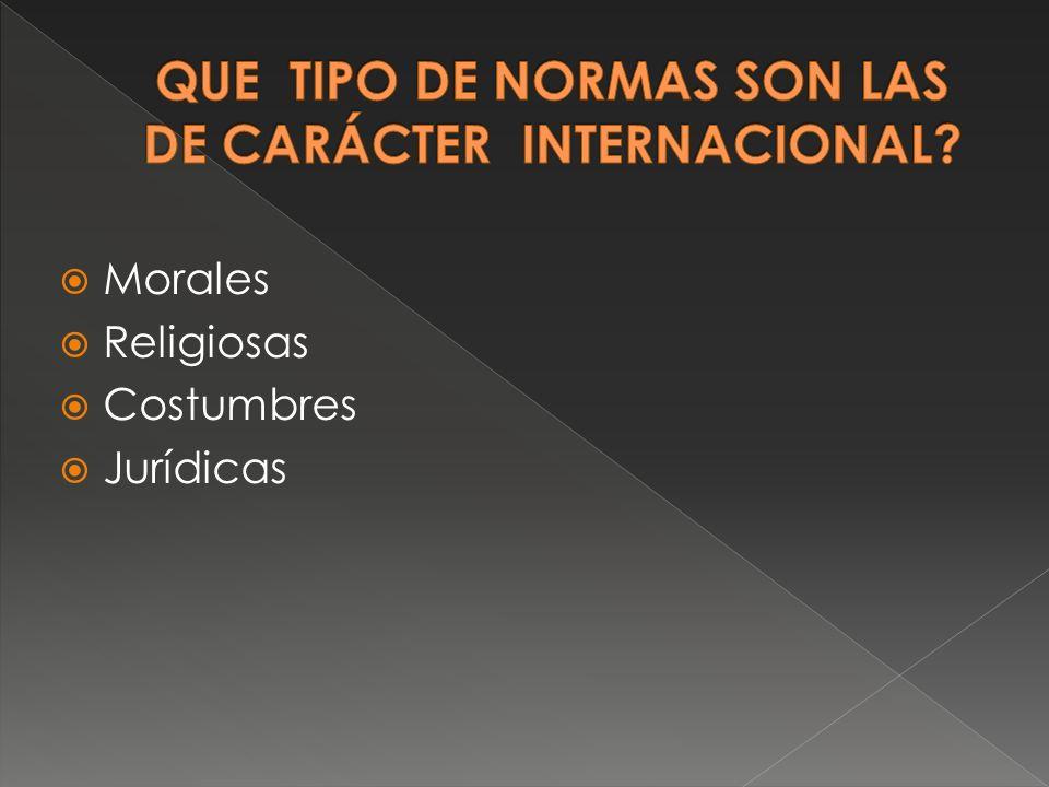 QUE TIPO DE NORMAS SON LAS DE CARÁCTER INTERNACIONAL