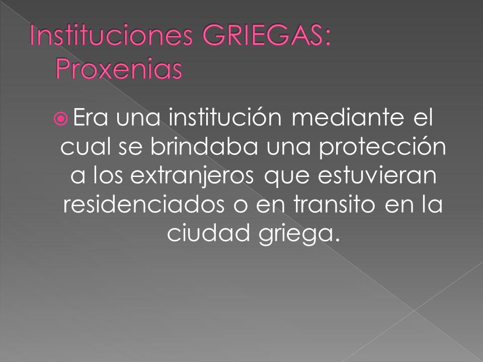 Instituciones GRIEGAS: Proxenias