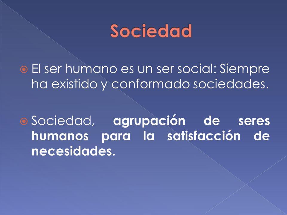 Sociedad El ser humano es un ser social: Siempre ha existido y conformado sociedades.