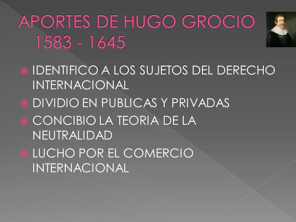 APORTES DE HUGO GROCIO 1583 - 1645