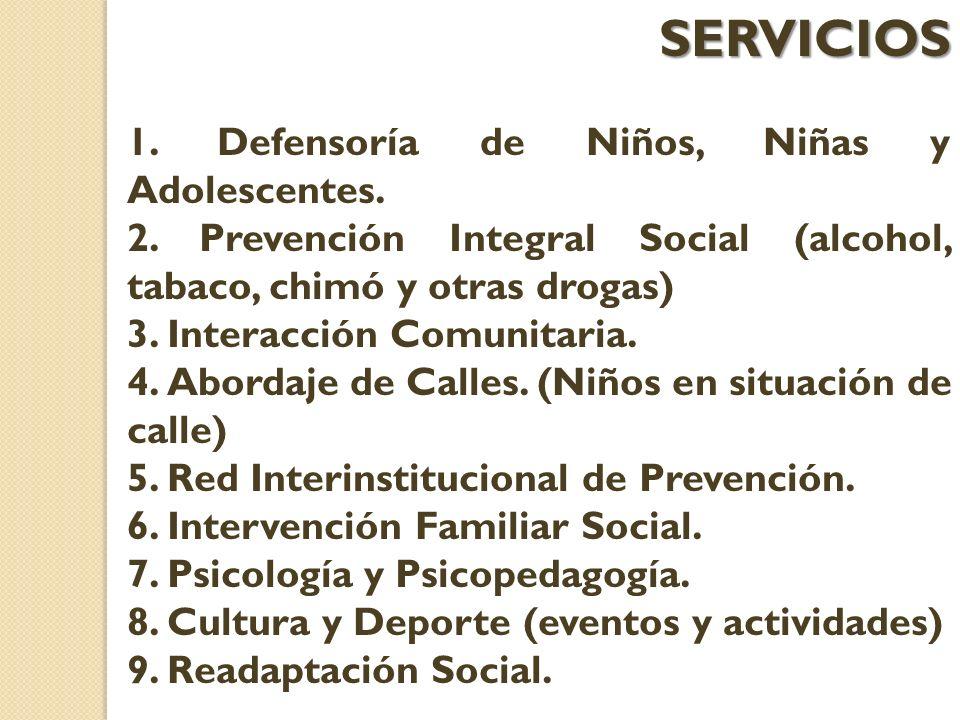 SERVICIOS 1. Defensoría de Niños, Niñas y Adolescentes.