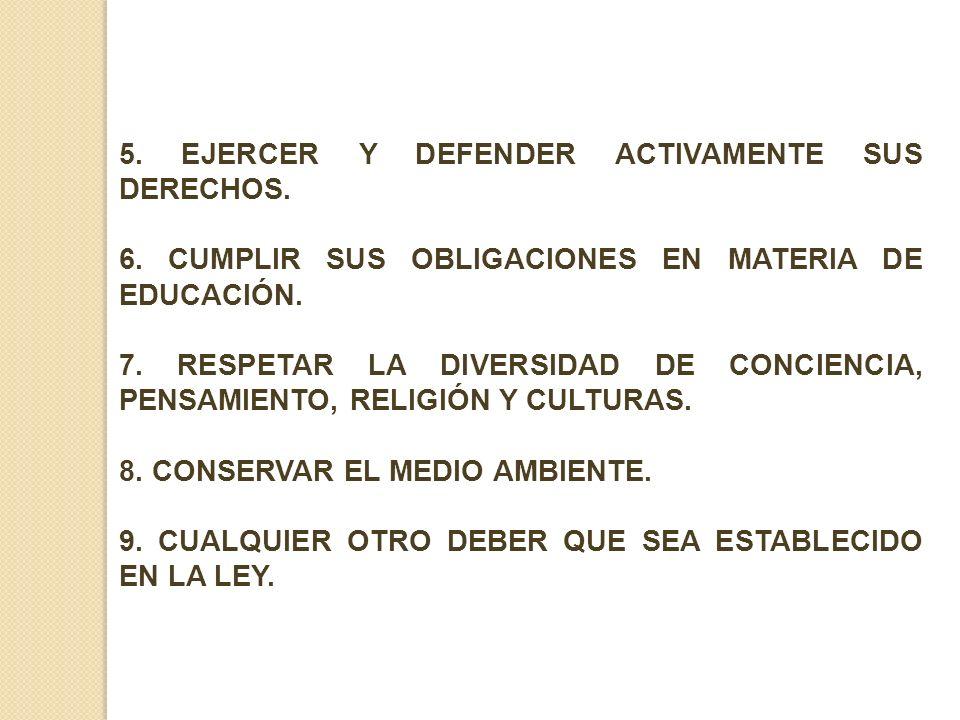 5. EJERCER Y DEFENDER ACTIVAMENTE SUS DERECHOS.
