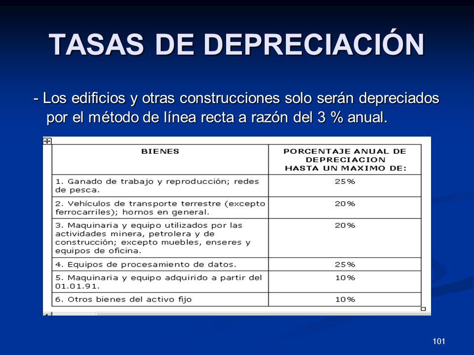 TASAS DE DEPRECIACIÓN- Los edificios y otras construcciones solo serán depreciados por el método de línea recta a razón del 3 % anual.