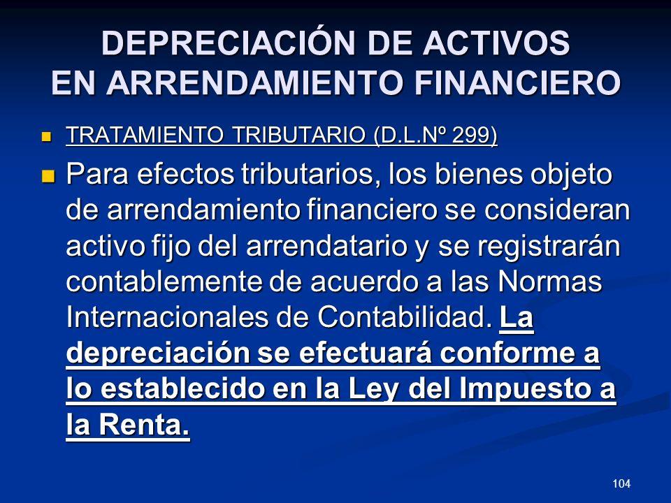 DEPRECIACIÓN DE ACTIVOS EN ARRENDAMIENTO FINANCIERO