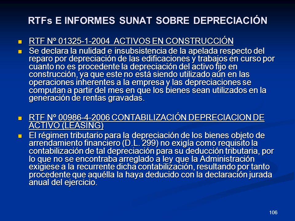 RTFs E INFORMES SUNAT SOBRE DEPRECIACIÓN