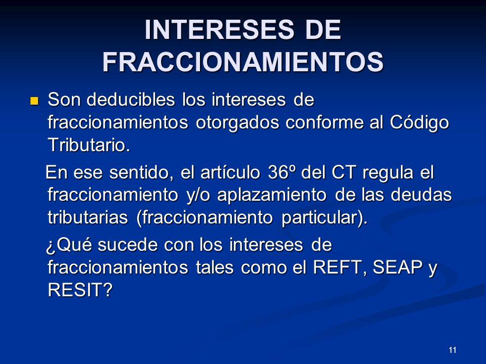 INTERESES DE FRACCIONAMIENTOS