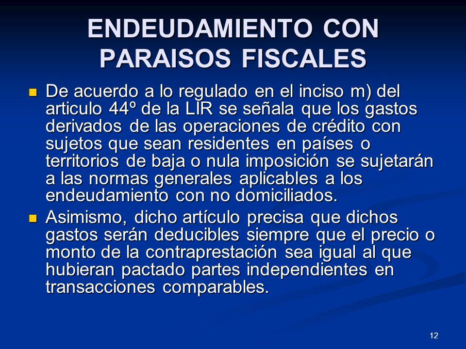 ENDEUDAMIENTO CON PARAISOS FISCALES