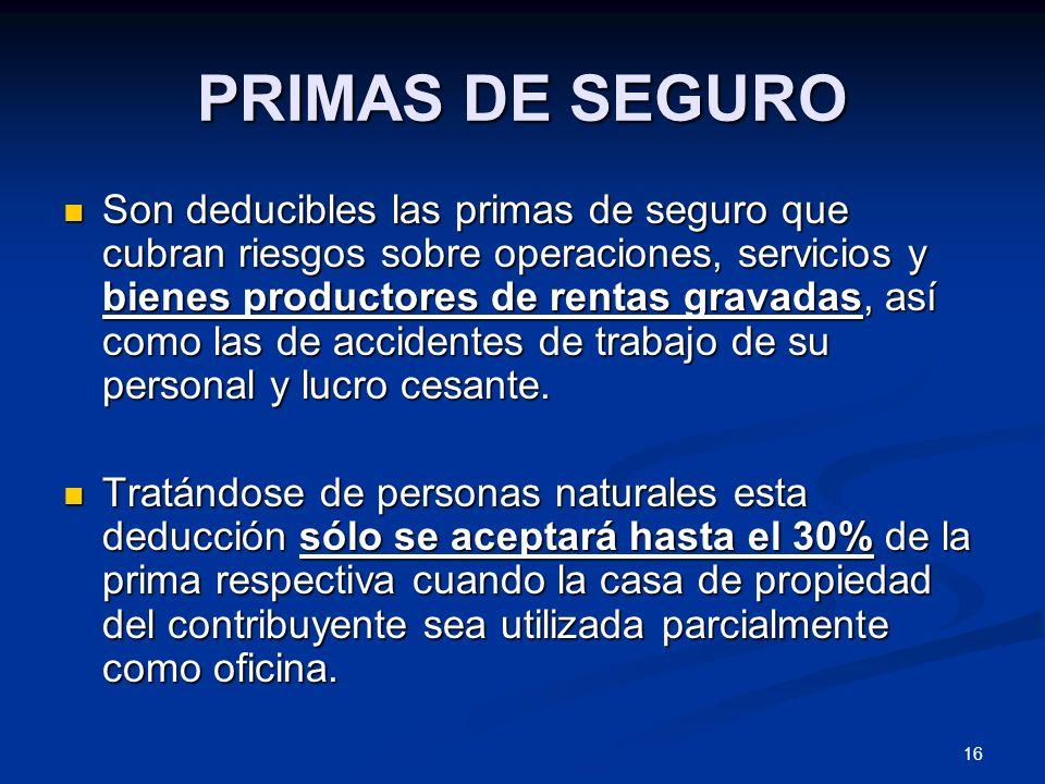 PRIMAS DE SEGURO