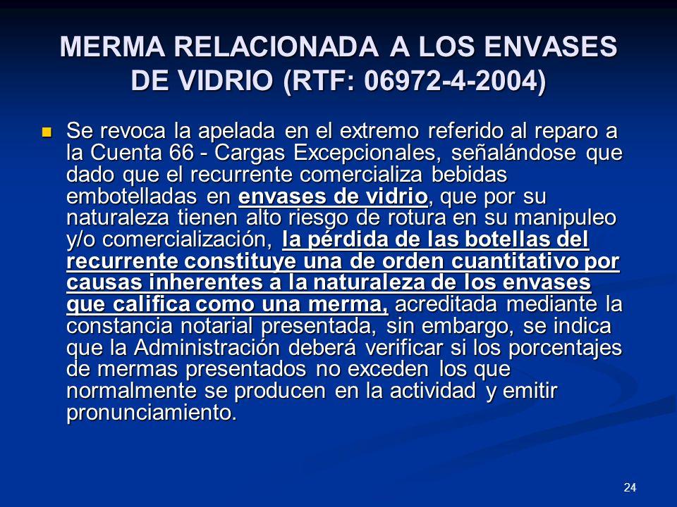 MERMA RELACIONADA A LOS ENVASES DE VIDRIO (RTF: 06972-4-2004)