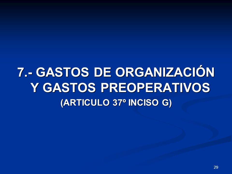 7.- GASTOS DE ORGANIZACIÓN Y GASTOS PREOPERATIVOS