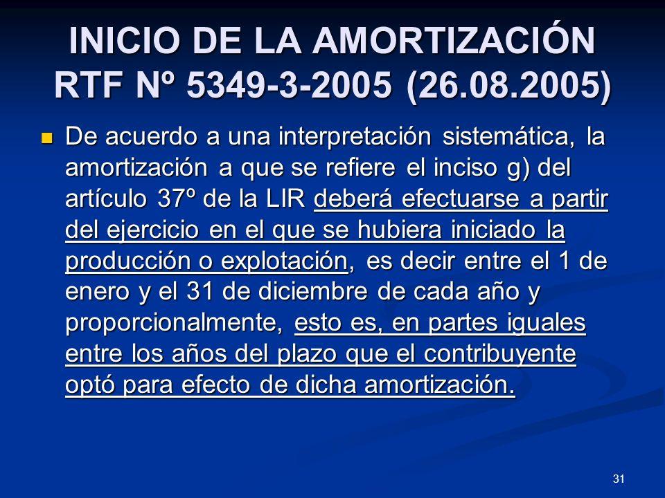 INICIO DE LA AMORTIZACIÓN RTF Nº 5349-3-2005 (26.08.2005)