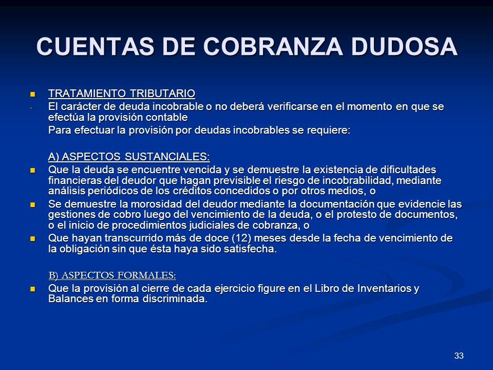 CUENTAS DE COBRANZA DUDOSA