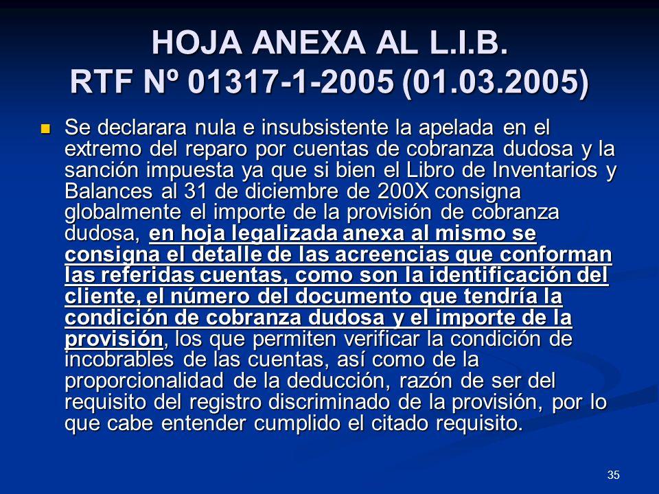 HOJA ANEXA AL L.I.B. RTF Nº 01317-1-2005 (01.03.2005)