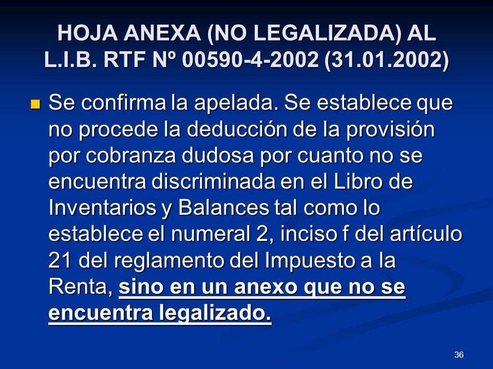 HOJA ANEXA (NO LEGALIZADA) AL L.I.B. RTF Nº 00590-4-2002 (31.01.2002)