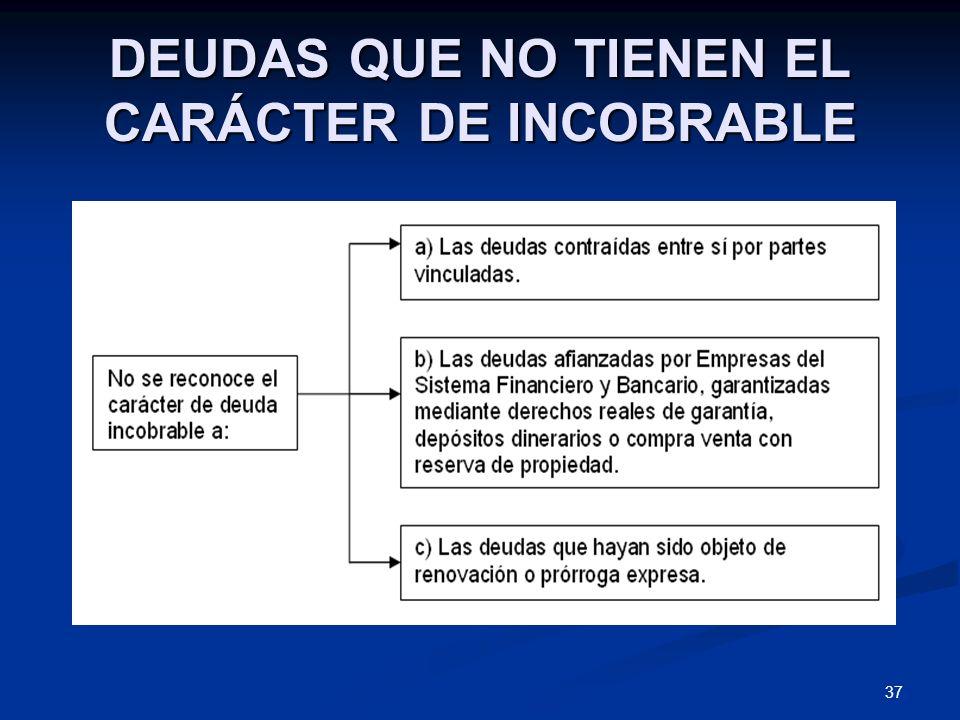DEUDAS QUE NO TIENEN EL CARÁCTER DE INCOBRABLE