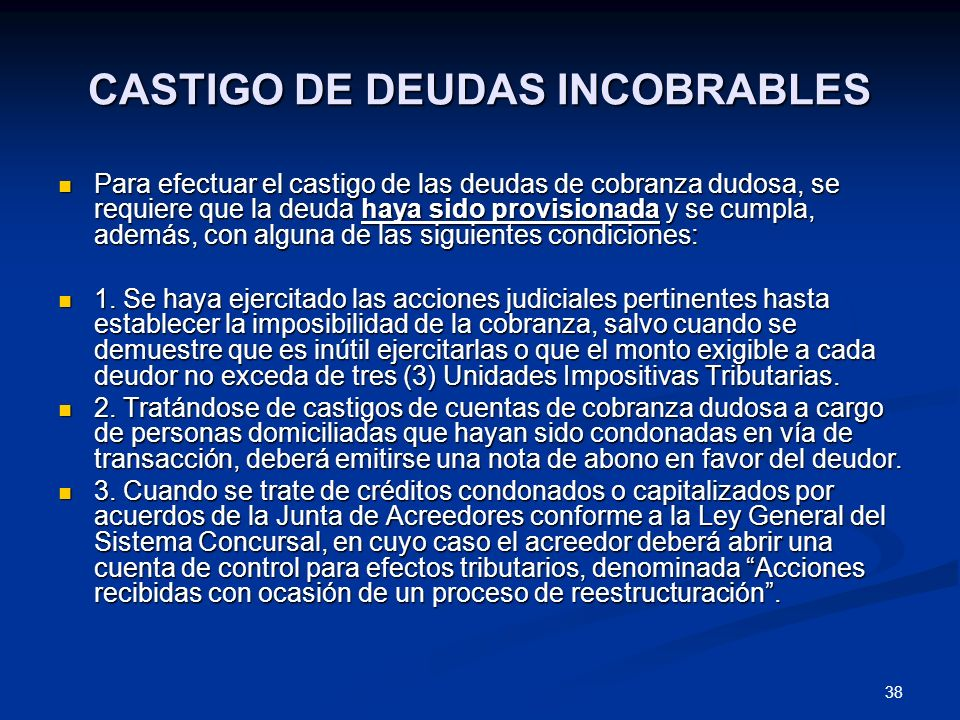 CASTIGO DE DEUDAS INCOBRABLES