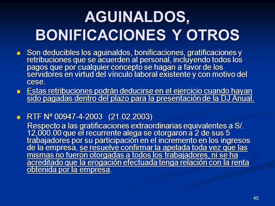 AGUINALDOS, BONIFICACIONES Y OTROS