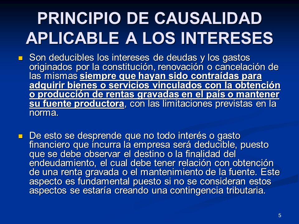 PRINCIPIO DE CAUSALIDAD APLICABLE A LOS INTERESES