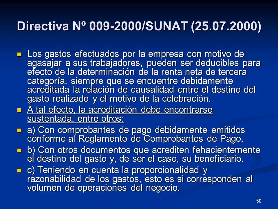 Directiva Nº 009-2000/SUNAT (25.07.2000)