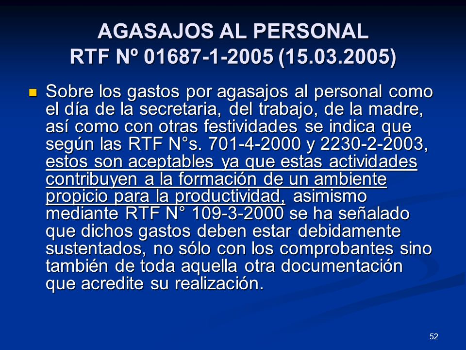 AGASAJOS AL PERSONAL RTF Nº 01687-1-2005 (15.03.2005)