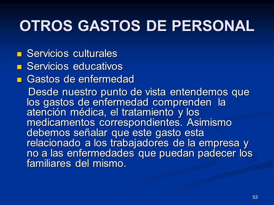 OTROS GASTOS DE PERSONAL