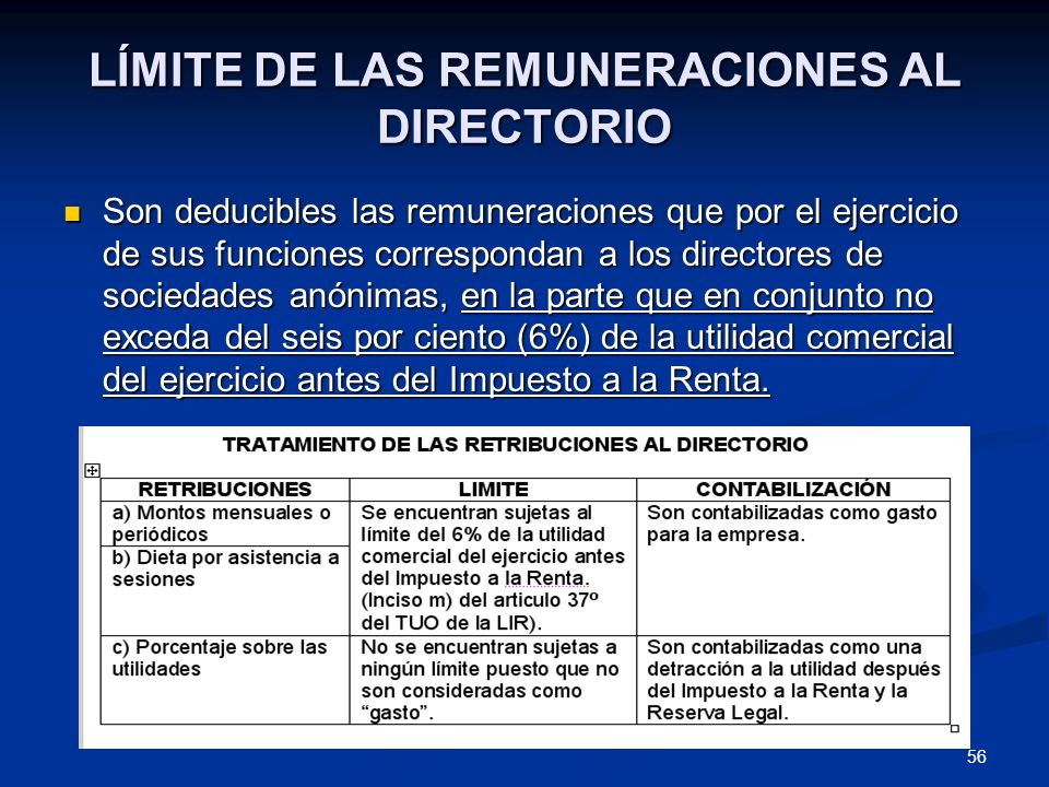 LÍMITE DE LAS REMUNERACIONES AL DIRECTORIO