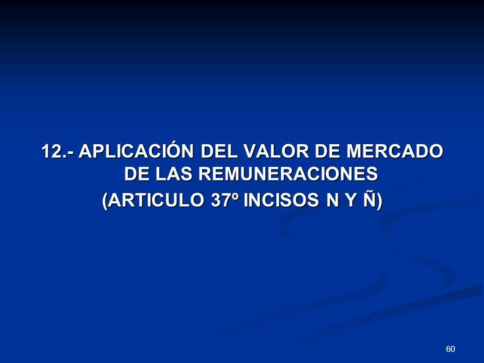 12.- APLICACIÓN DEL VALOR DE MERCADO DE LAS REMUNERACIONES