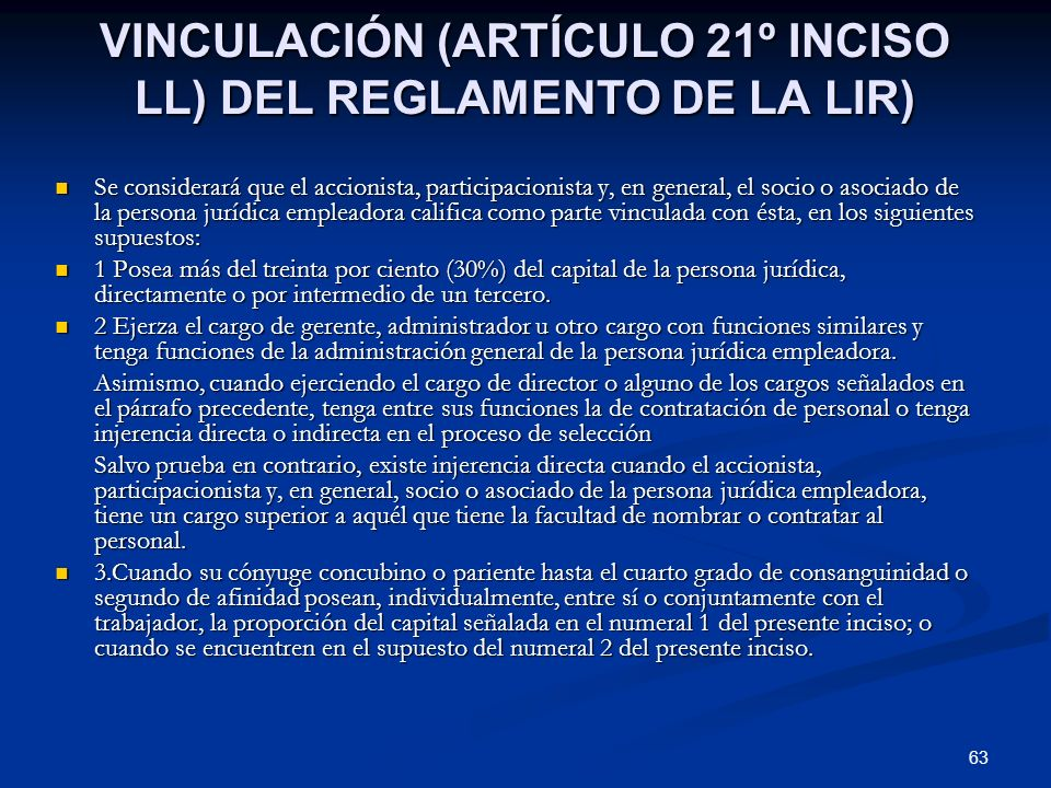 VINCULACIÓN (ARTÍCULO 21º INCISO LL) DEL REGLAMENTO DE LA LIR)