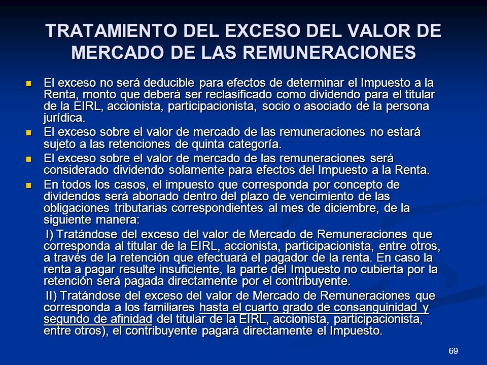 TRATAMIENTO DEL EXCESO DEL VALOR DE MERCADO DE LAS REMUNERACIONES