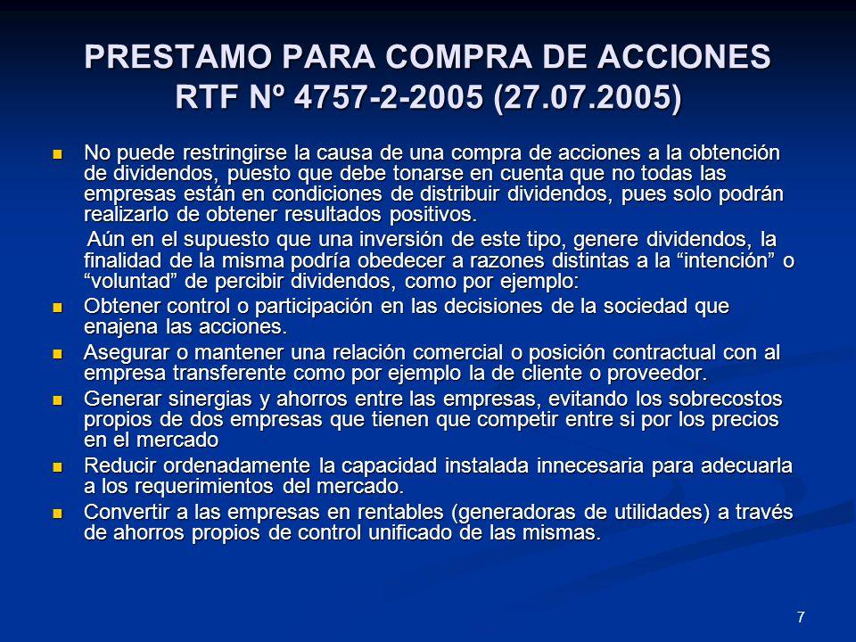 PRESTAMO PARA COMPRA DE ACCIONES RTF Nº 4757-2-2005 (27.07.2005)