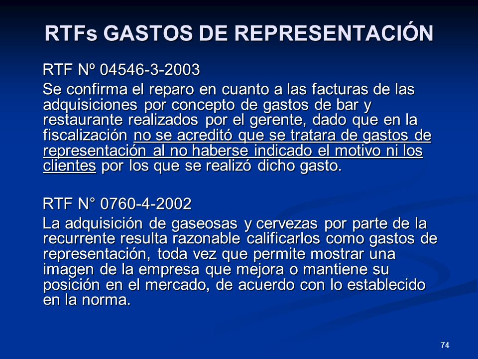 RTFs GASTOS DE REPRESENTACIÓN