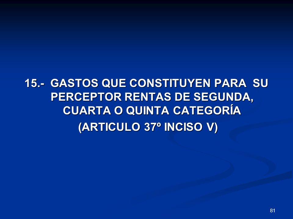 15.- GASTOS QUE CONSTITUYEN PARA SU PERCEPTOR RENTAS DE SEGUNDA, CUARTA O QUINTA CATEGORÍA