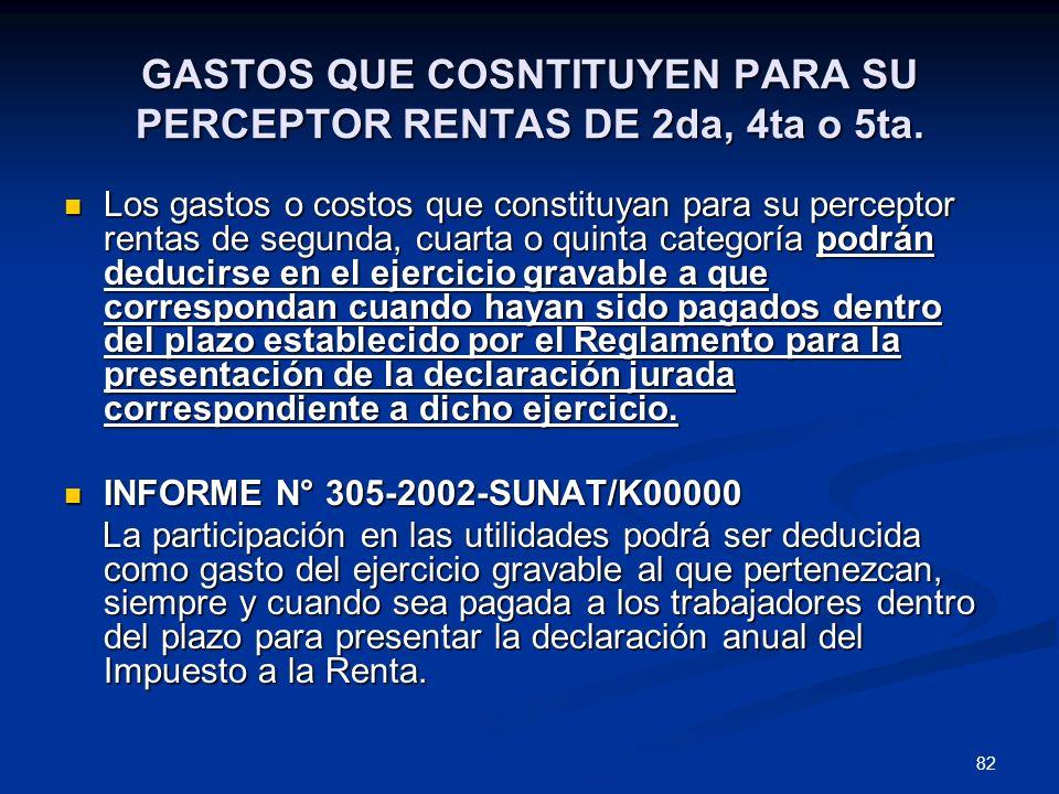 GASTOS QUE COSNTITUYEN PARA SU PERCEPTOR RENTAS DE 2da, 4ta o 5ta.