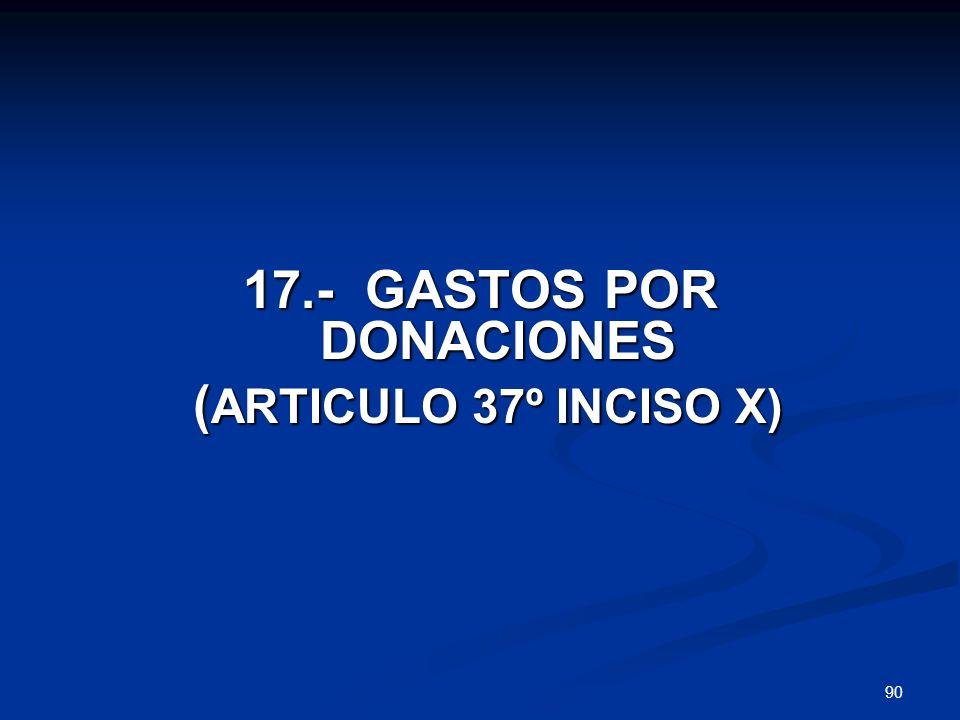 17.- GASTOS POR DONACIONES