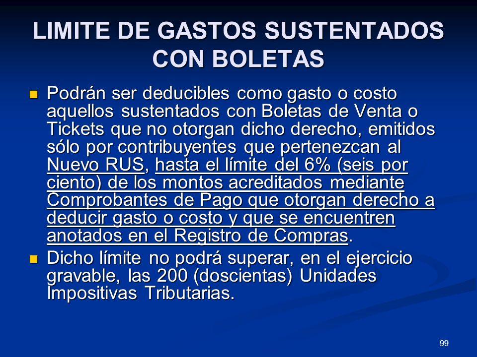 LIMITE DE GASTOS SUSTENTADOS CON BOLETAS