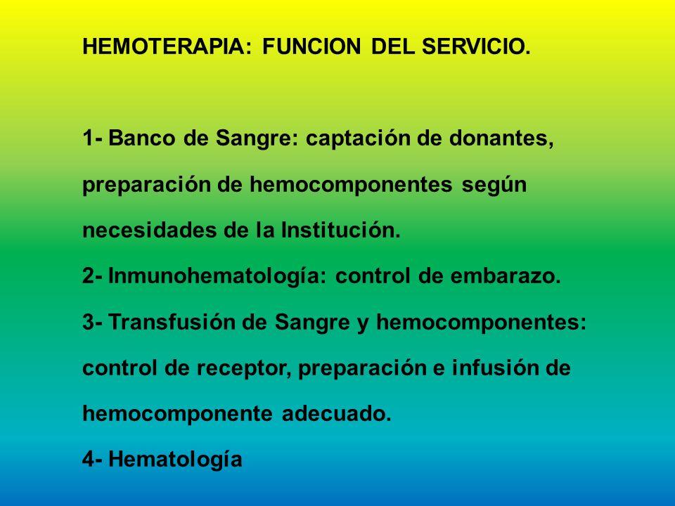 HEMOTERAPIA: FUNCION DEL SERVICIO